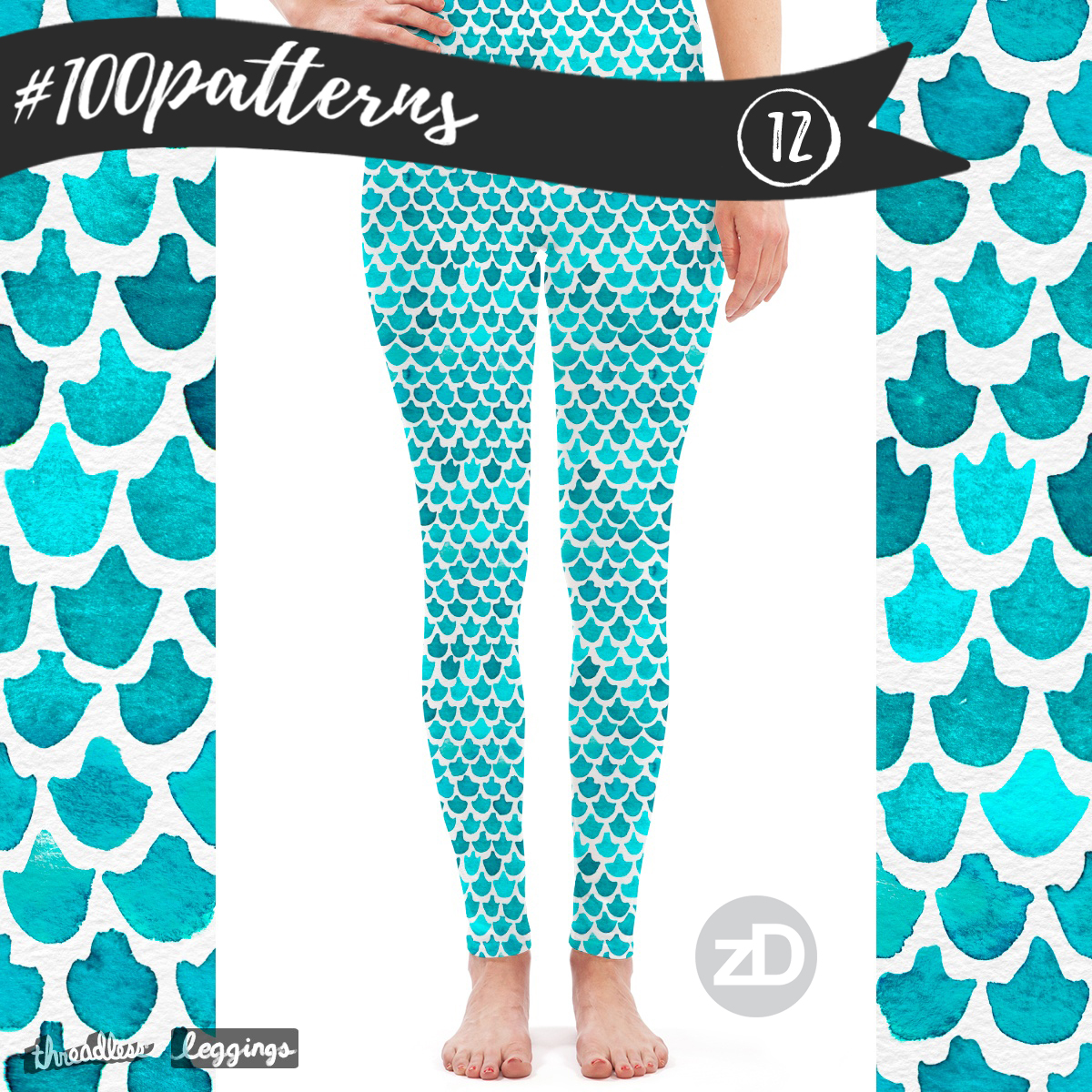 Zirkus Design | Indigo Vibes Summer Watercolor Surface Pattern Design Collection : Turquoise Mermaid Leggings Threadless Mockup