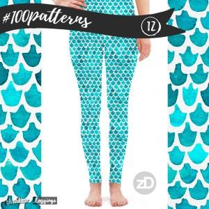 Zirkus Design   Indigo Vibes Summer Watercolor Surface Pattern Design Collection : Turquoise Mermaid Leggings Threadless Mockup