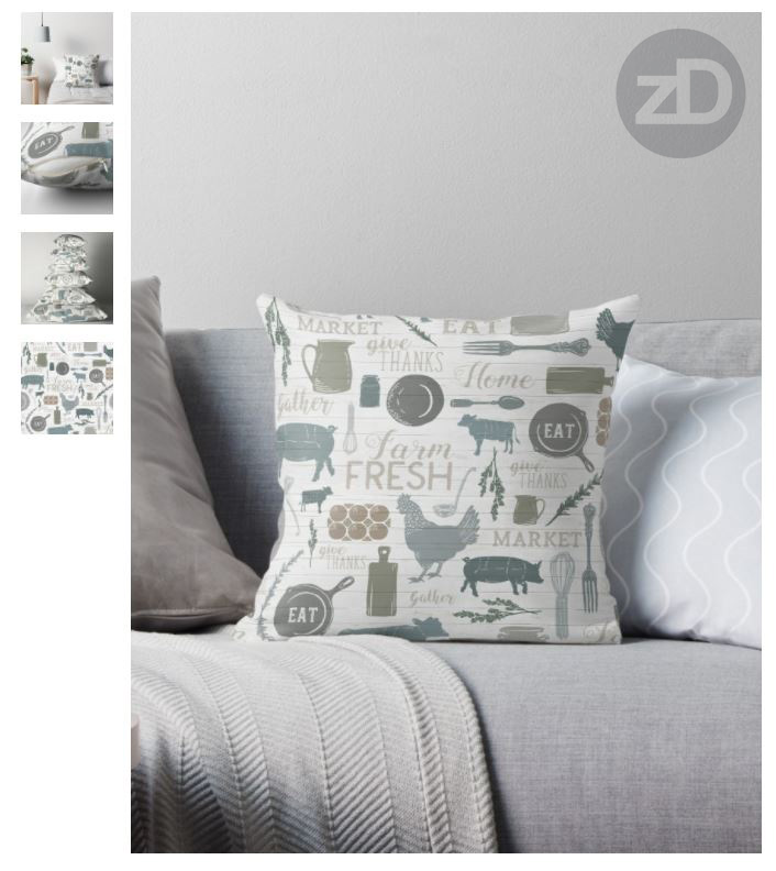 Zirkus Design | Sing for Your Supper: A Modern Farmhouse Pattern Design - Pillow Mockup