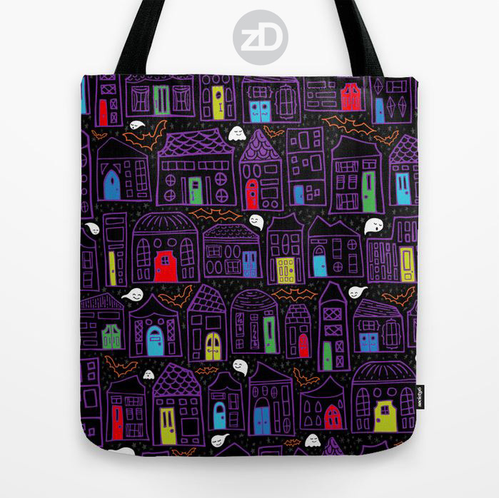 Zirkus Design | Happy City Pattern Collection - Happy Haunted House Halloween in the City - Tote Bag