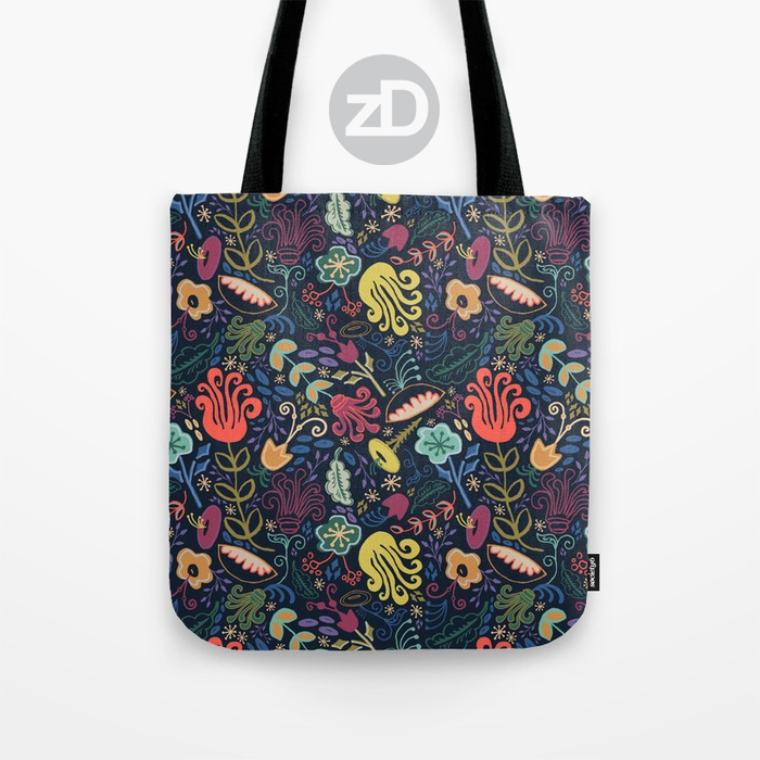Zirkus Design | Funky Vintage Floral Collection: A Groovy Retro Feel in Salmon, Apricot, Navy, and Olive (Tote Mockup)