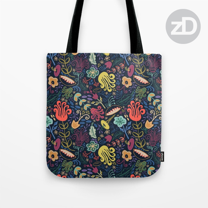 Zirkus Design | Navy Vintage Floral Pattern Available on Custom Tote Bag by Society6
