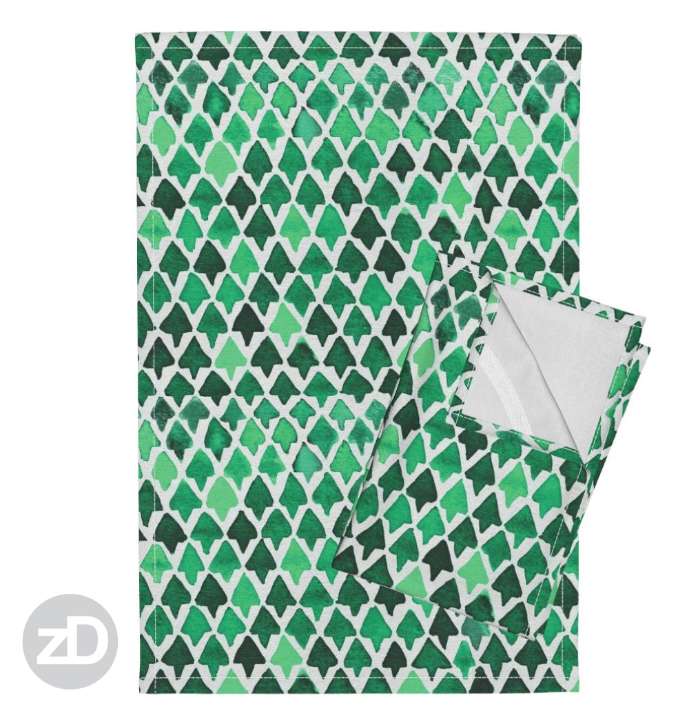 Zirkus Design | Indigo Vibes Summer Watercolor Surface Pattern Design Collection : Forest Green Triangle Tree Watercolor Tea Towels by Roostery