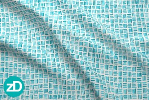 Zirkus Design | Indigo Vibes Summer Watercolor Surface Pattern Design Collection : Turquoise Watercolor Crosshatch Basket Weave Fabric