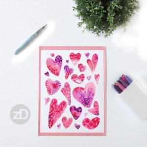 Zirkus Design | Watercolor Hearts Valentines Day Painting