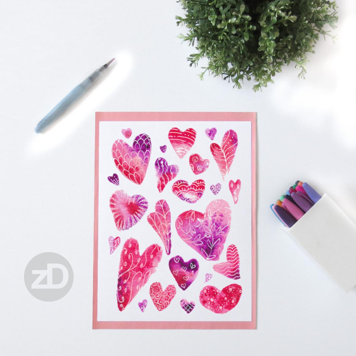 Zirkus Design   Watercolor Hearts Valentines Day Painting