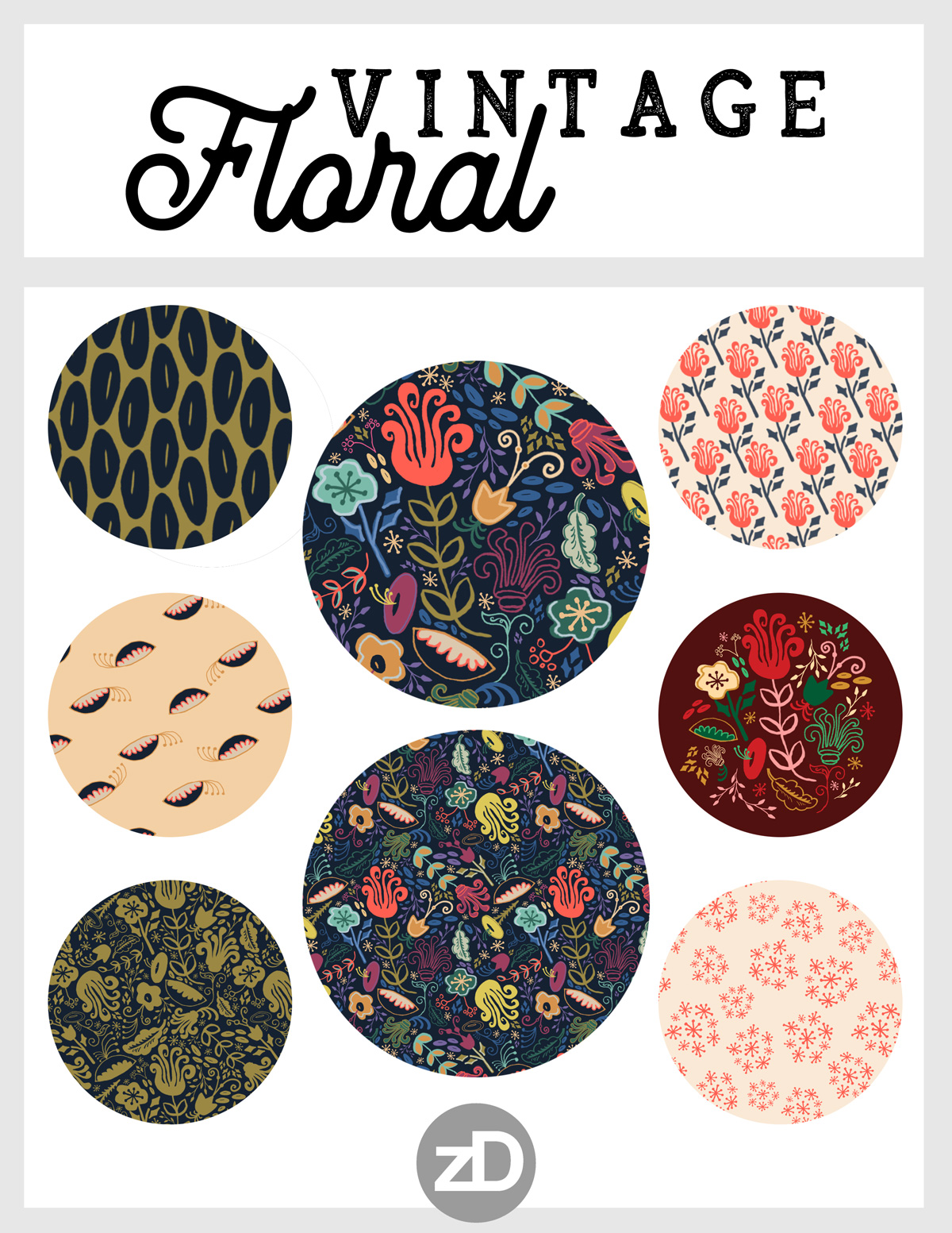 Zirkus Design | Funky Vintage Floral Collection: A Groovy Retro Feel in Salmon, Apricot, Navy, and Olive