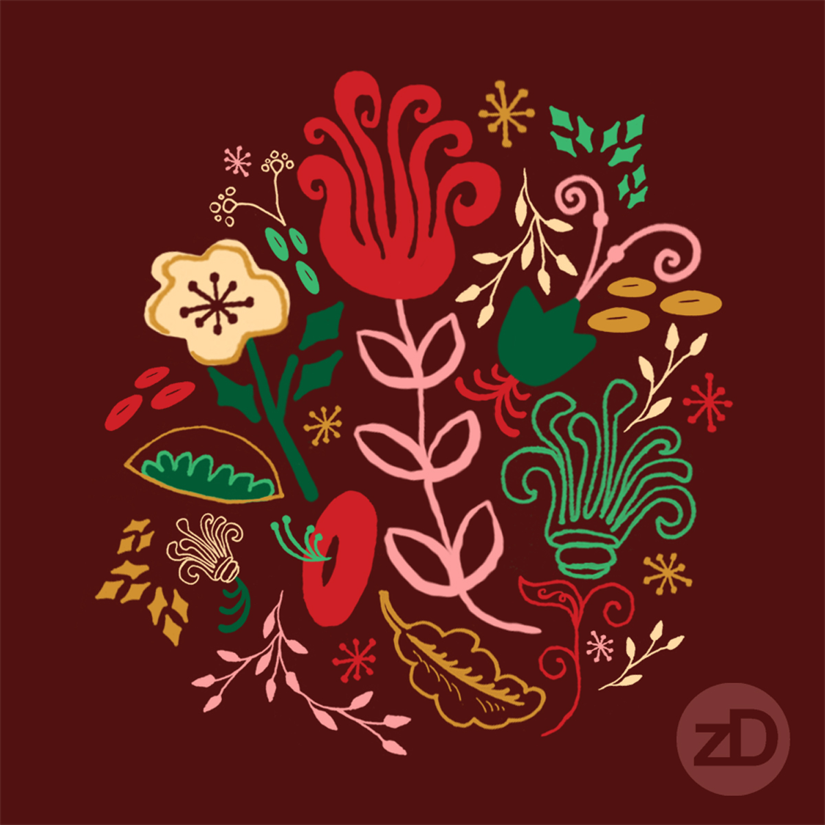 Zirkus Design | Vintage Floral Repeat Pattern - Vintage Holiday Color Palette Color Way