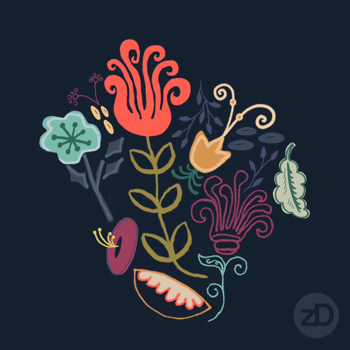 Zirkus Design | New Navy Vintage Floral Pattern - Design Process: Initial Repeat Pattern Motif Grouping