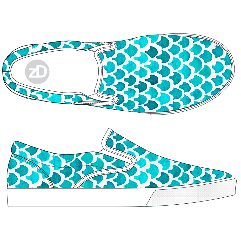 Zirkus Design | Indigo Vibes Watercolor Pattern Design Collection - Turquoise Mermaid Shoe Mockup
