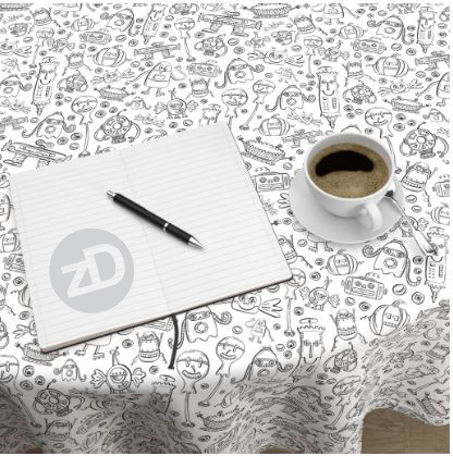 Zirkus Design | Halloween Candy Robots Collection - Black and White Coloring Book Fabric - Tablecloth Mockup