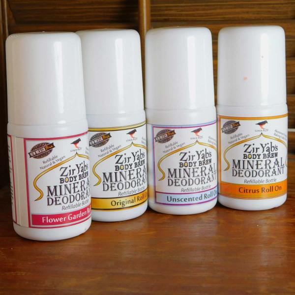 Picture of our 4 varieties of refillable roll-on deodorants