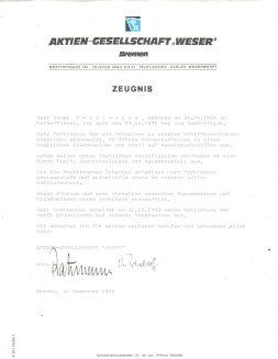 Zeugniss AG - Weser 1983, Ahmet Terkivatan (© privat)