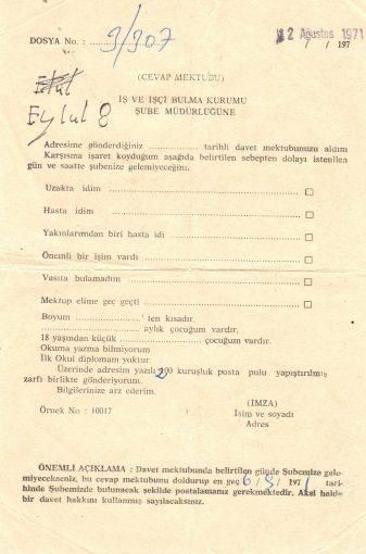 Einladung vom Arbeitsministerium Istanbul 1971, Ahmet Terkivatan (© privat)