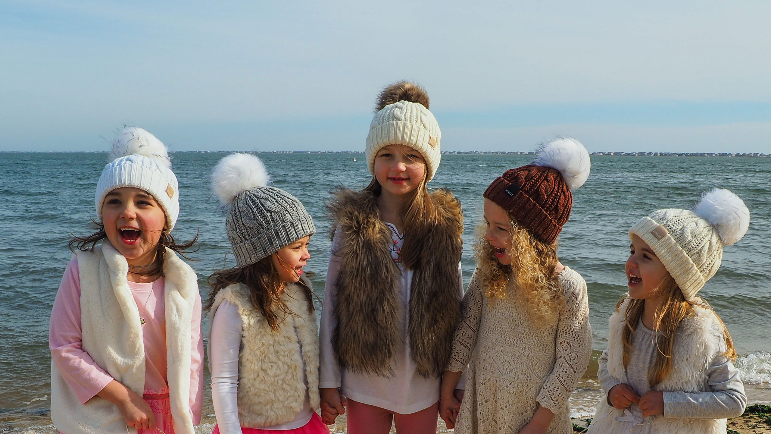 kid's wool hats - beach