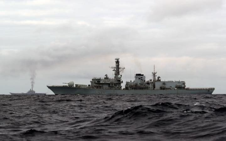 HMS Richmond escorting the Russian Task Group