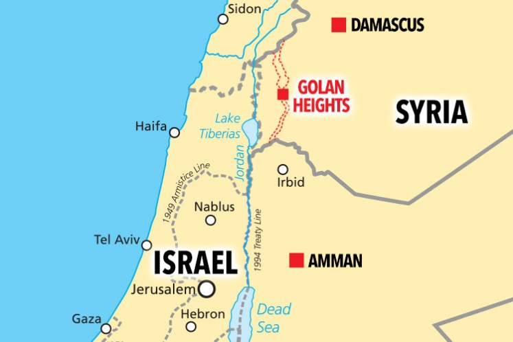 Golan Heights sits between Syria and Israel