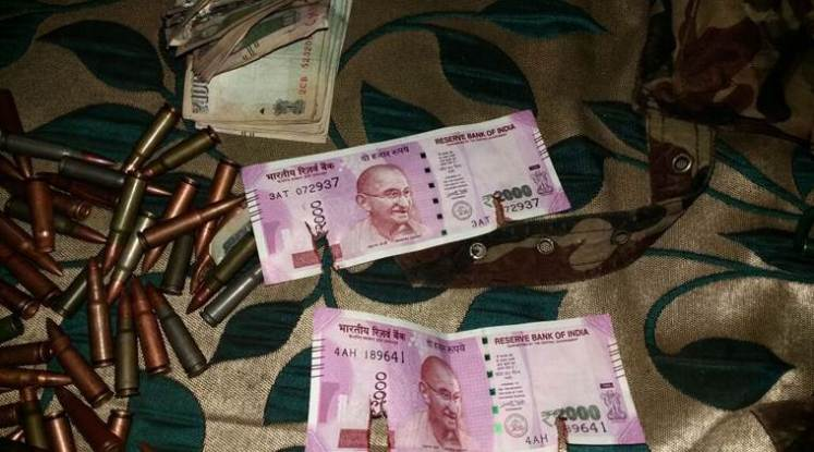 Jammu and Kashmir: Newly introduced Rs 2,000 notes along with ammuniton were recovered from two Militants gunned down in Bandipora on Tuesday