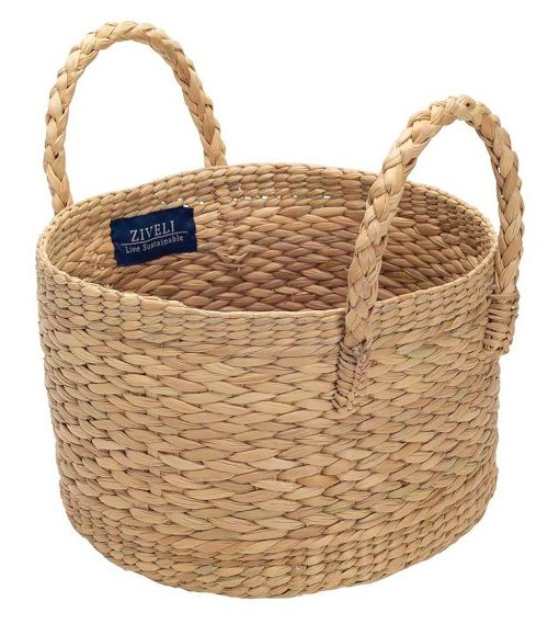 medium round handcrafted basket Ziveli