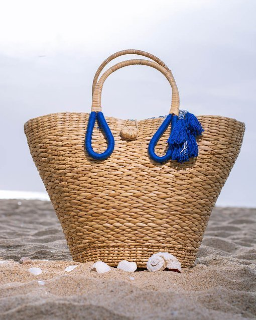handmade straw beach bag