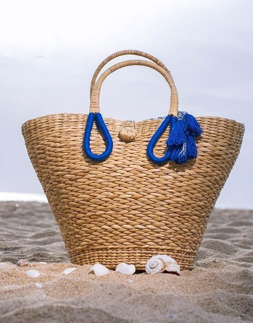 handmade straw beach bag