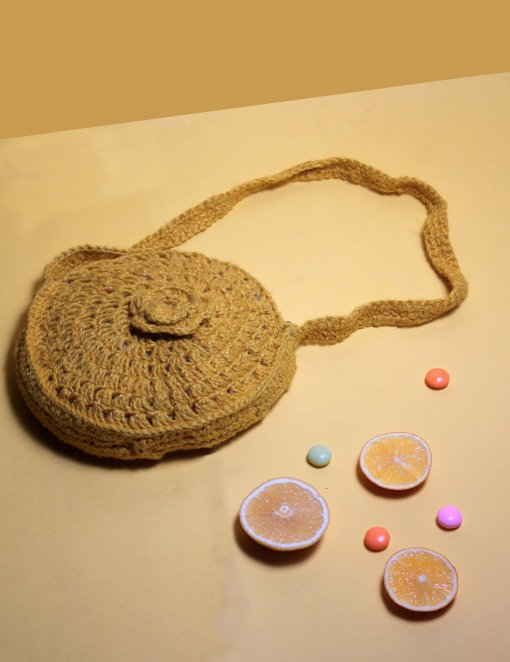 yellow crocheted circle bag