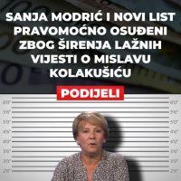 """Novinarka Sanja Modrić i """"Novi List"""" pravomoćno osuđeni zbog širenja lažnih vijesti o Mislavu Kolakušiću"""