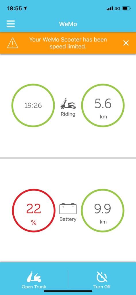 WeMo aplikace jízda zpomalená
