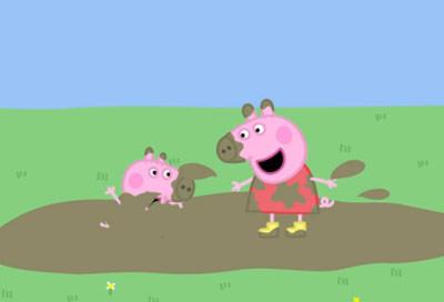 小豬佩奇邀請孩子一起玩泥巴-4399兒歌故事大全