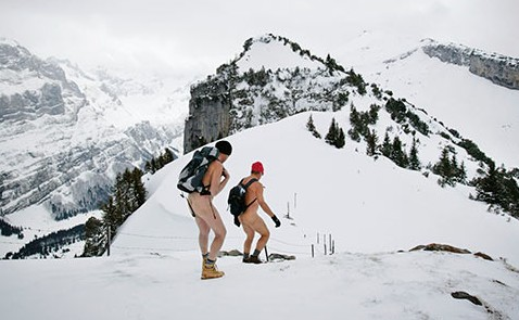 Naked snow hike