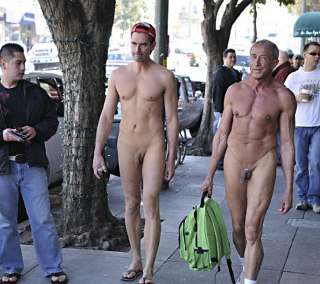 Walking nude in the street