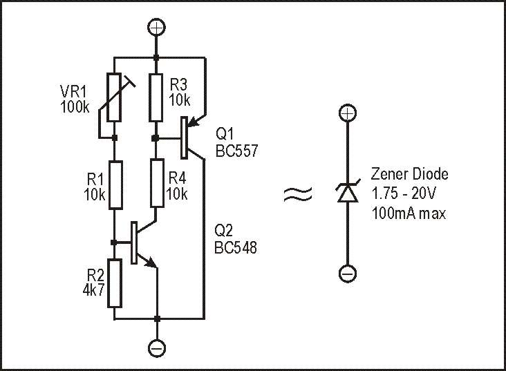 voltage regulator circuit composed of zener diodes powersupply