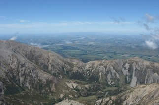 From the summit, the Waimakariri River and distant Banks Peninsula