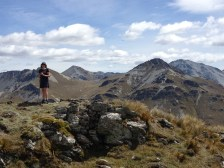 Julia on the summit, with the St Marys Range behind
