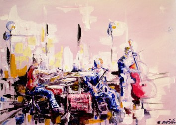 Street Musicians, contemporary music themed art painting by artist Zlatko Music