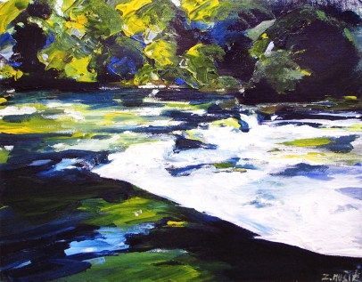 Mountain river stream, contemporary art painting by Zlatko Music