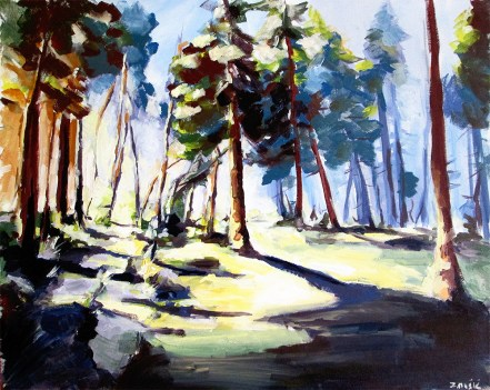 Forest summer shadows, nature landscape art painting by artist Zlatko Music