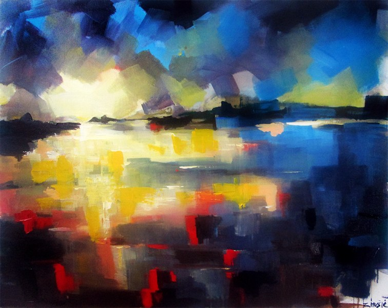 Reflections of memories, abstract landscape, contemporary art painting by Zlatko Music