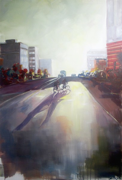 Street shadows, contemporary art painting by Zlatko Music
