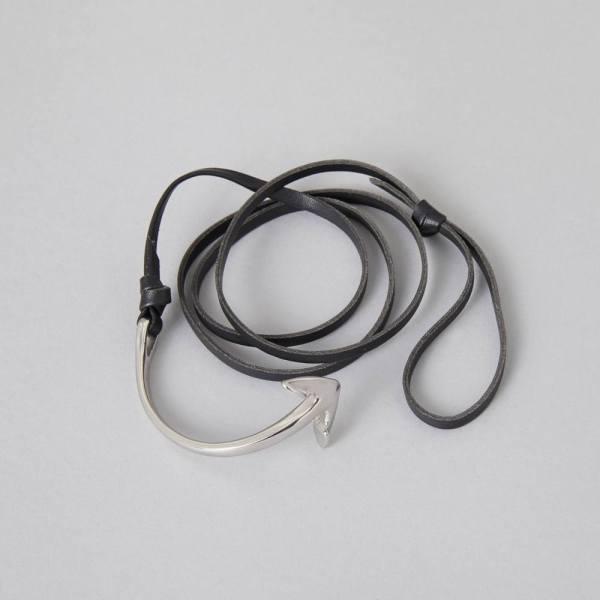 Sort læder bånd med sølv anker | Elegant og sophisticated look til herren