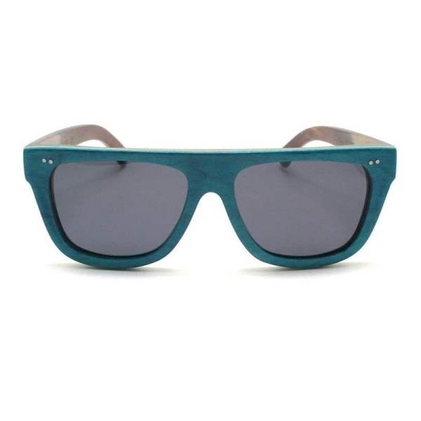 green flat bamboo sunglasses