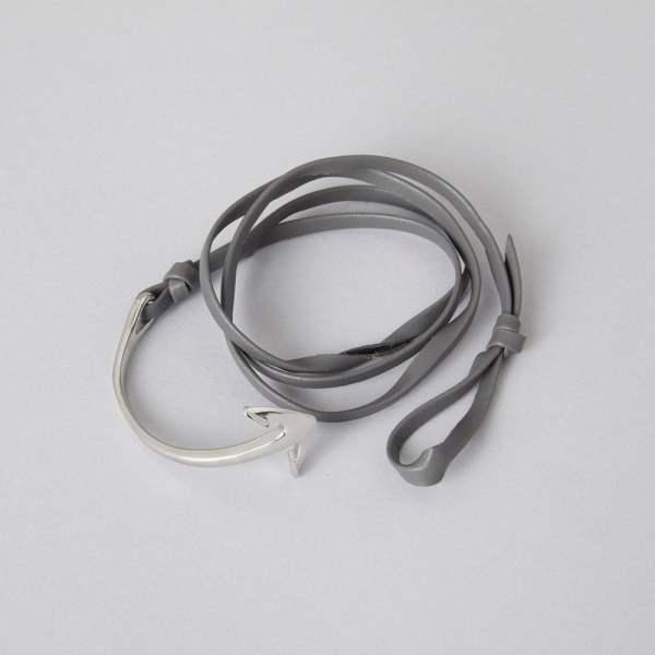 Grå læderrem med sølv anker armbånd fra ZLCOPENHAGEN