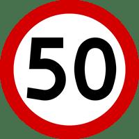 Znak B-33 Ograniczenie prędkości (tu: 50 km/h).