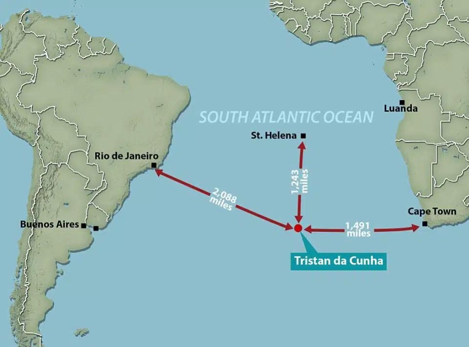 Položaj otoka Tristan da Cunha na zemljopisnoj karti (FOTO: Brock Carmichael)