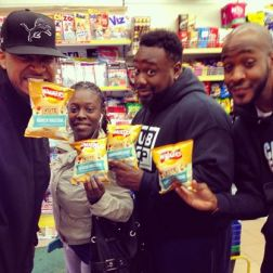 Posing with the worst tasting chips I have EVER eaten