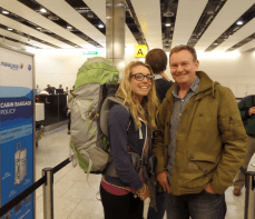 Me and my Dad at the airport before I left to travel for a year