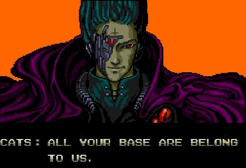 Screenshot aus dem Intro von Zero Wing: All your base are belong to us