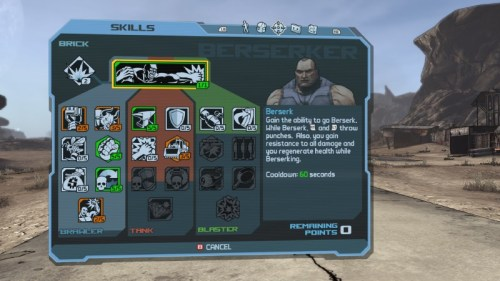 Screenshot BORDERLANDS: Skillvergabe Berserker (Quelle: www.borderlandsthegame.com)