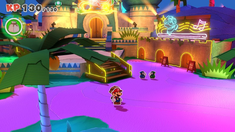 Paper Mario Origami King Screenshot: Shroom City