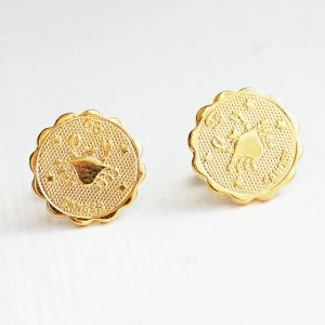 Cancer Gold Stud Earrings